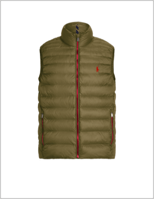 Dark green custom packable vest with red trim.