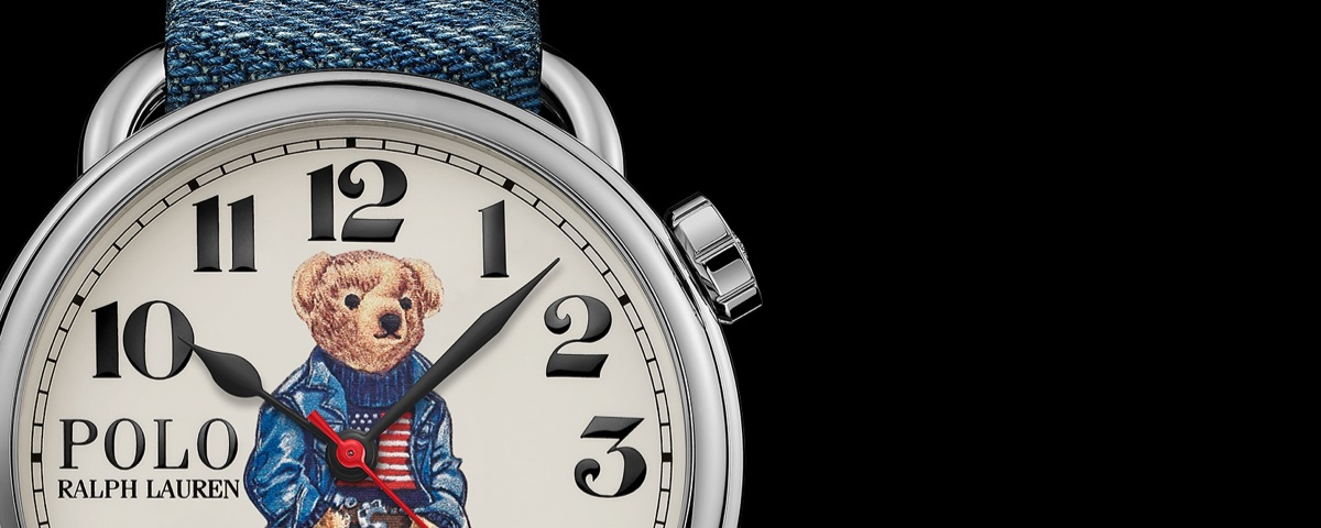 Watch with Polo Bear wearing American flag sweater on face