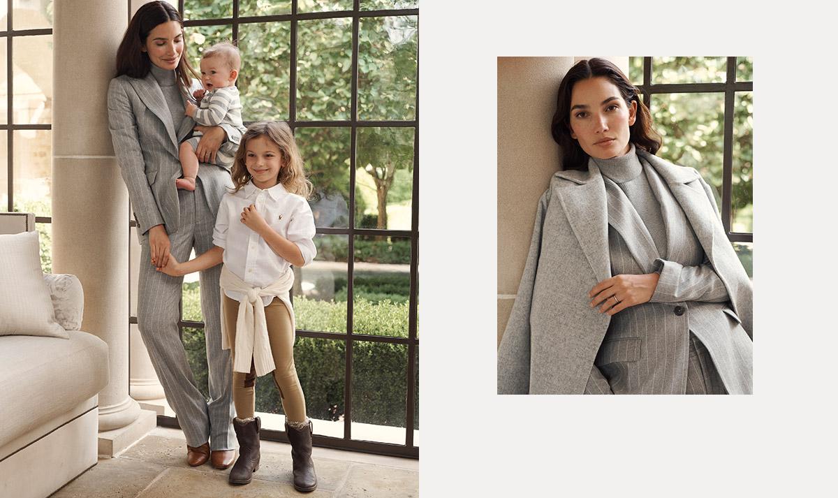 Woman wears grey pinstripe suit; kids wear neutral-colored outfits.