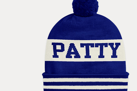 Animation of knit hat with custom graphics