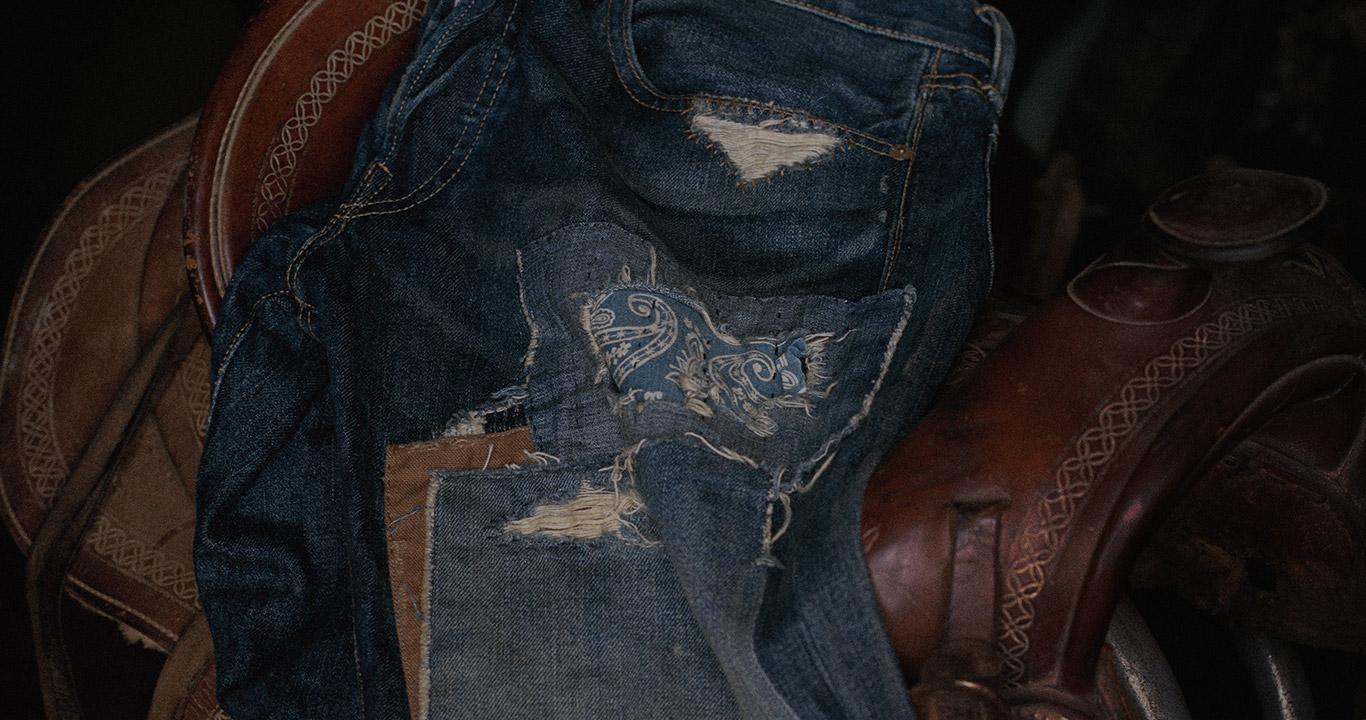 Horse saddle & distressed denim