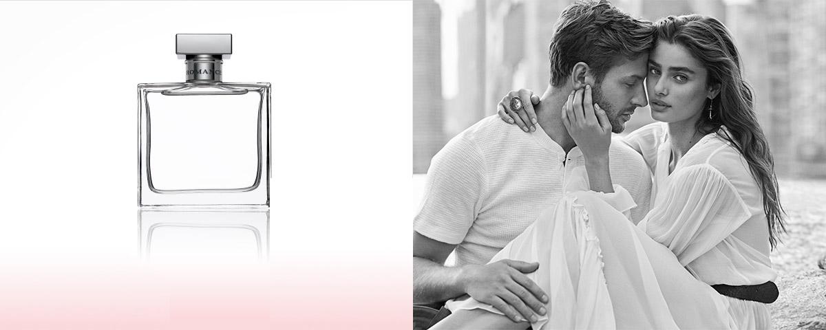 Bottles of Romance fragrance & photograph of Taylor Hill & boyfriend