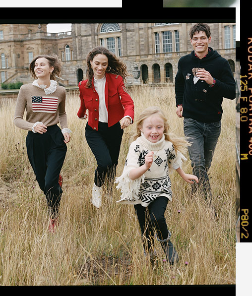 Women, child, and man running through field in winter Polo styles