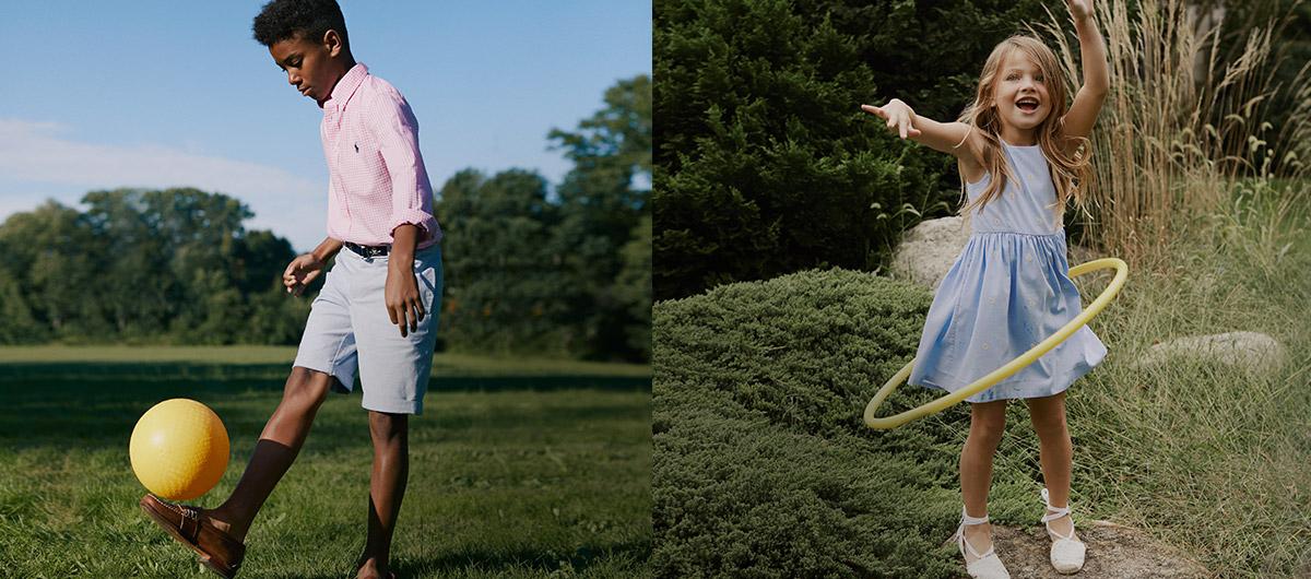 Boy in pastel outfit kicks ball; girl in pastel blue dress hula-hoops.