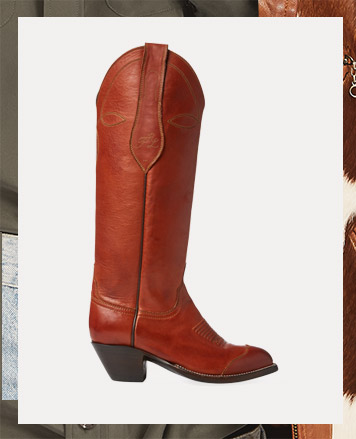 Tall brown leather boot with block heel